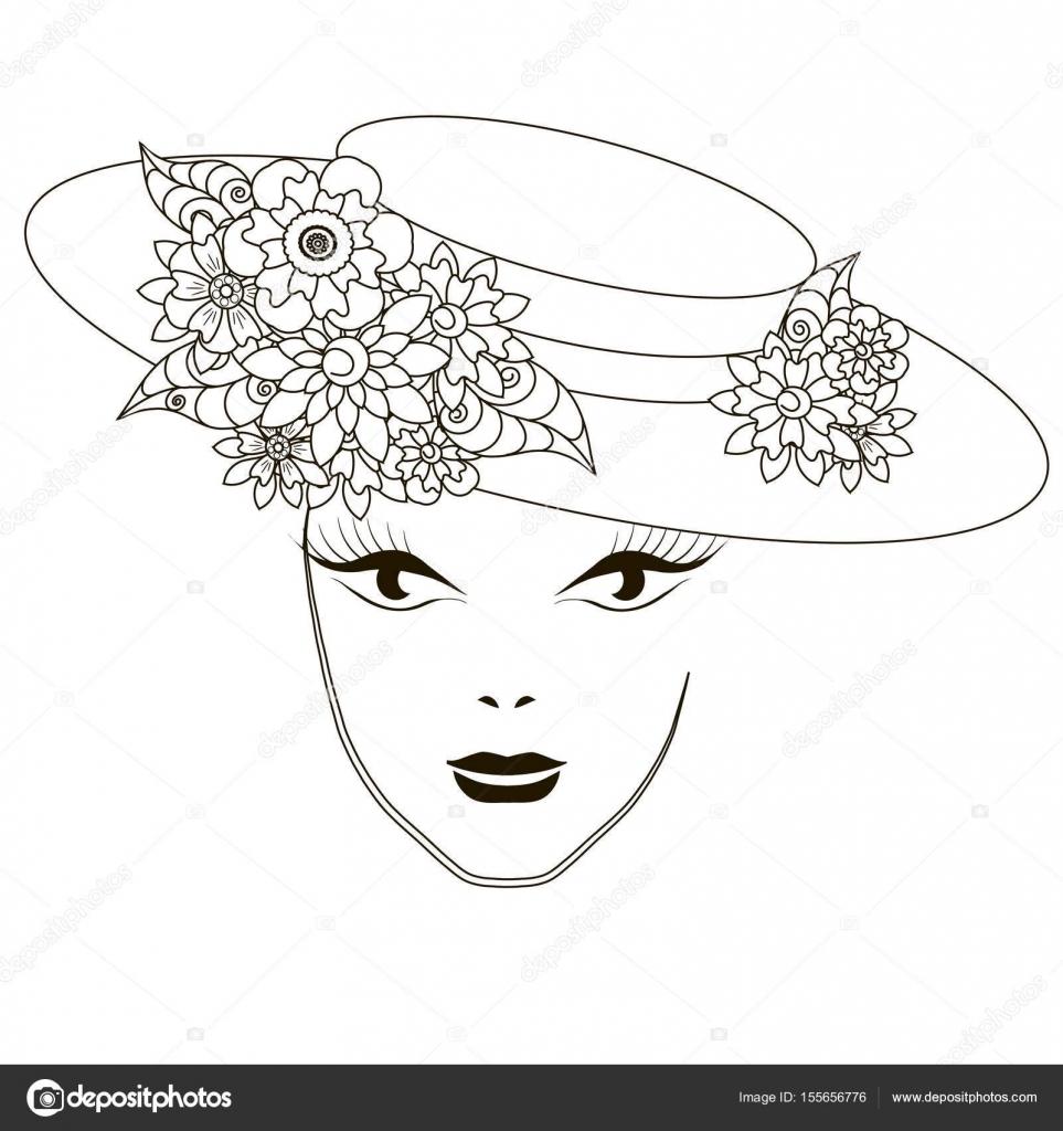раскраска девушка в шляпе монохромный красивая девушка в