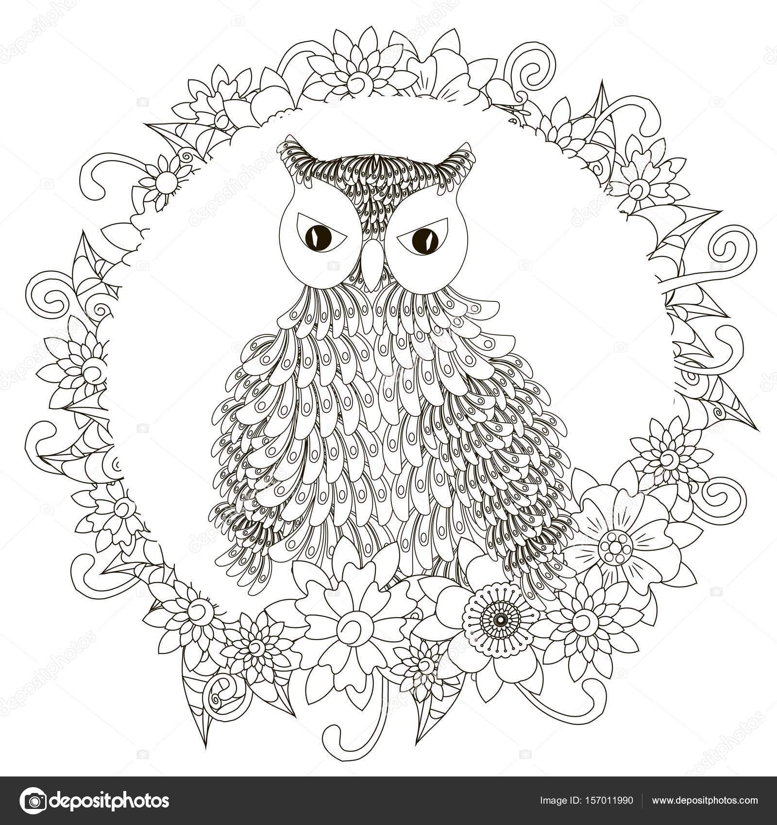 Monochrome Doodle Hand gezeichnete Eule in Blumen Rahmen. Anti ...