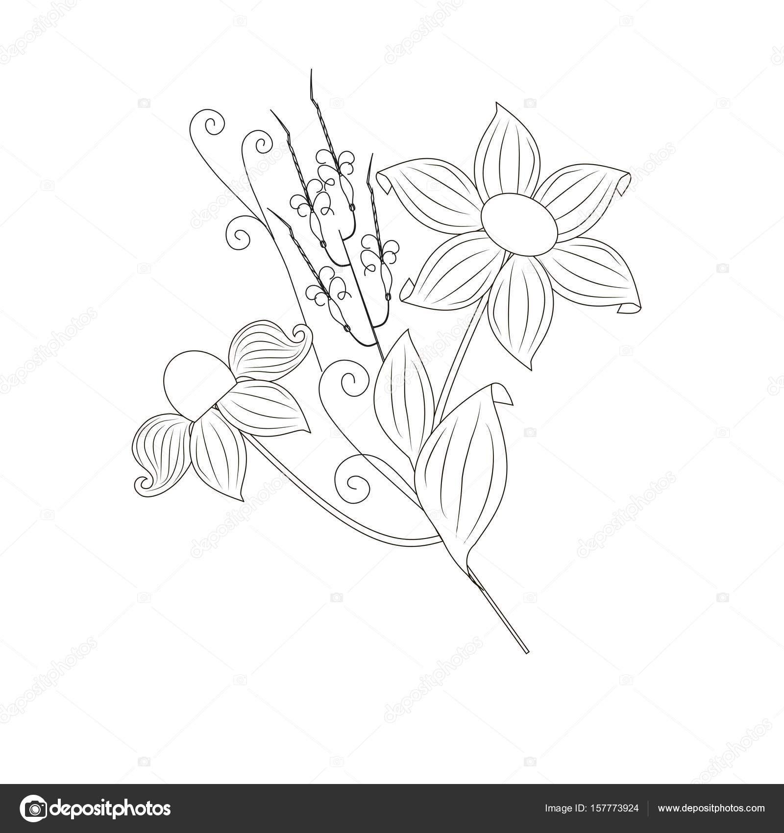 Monochrome handgezeichnete Bouquet für Malvorlagen, ausdrucken ...