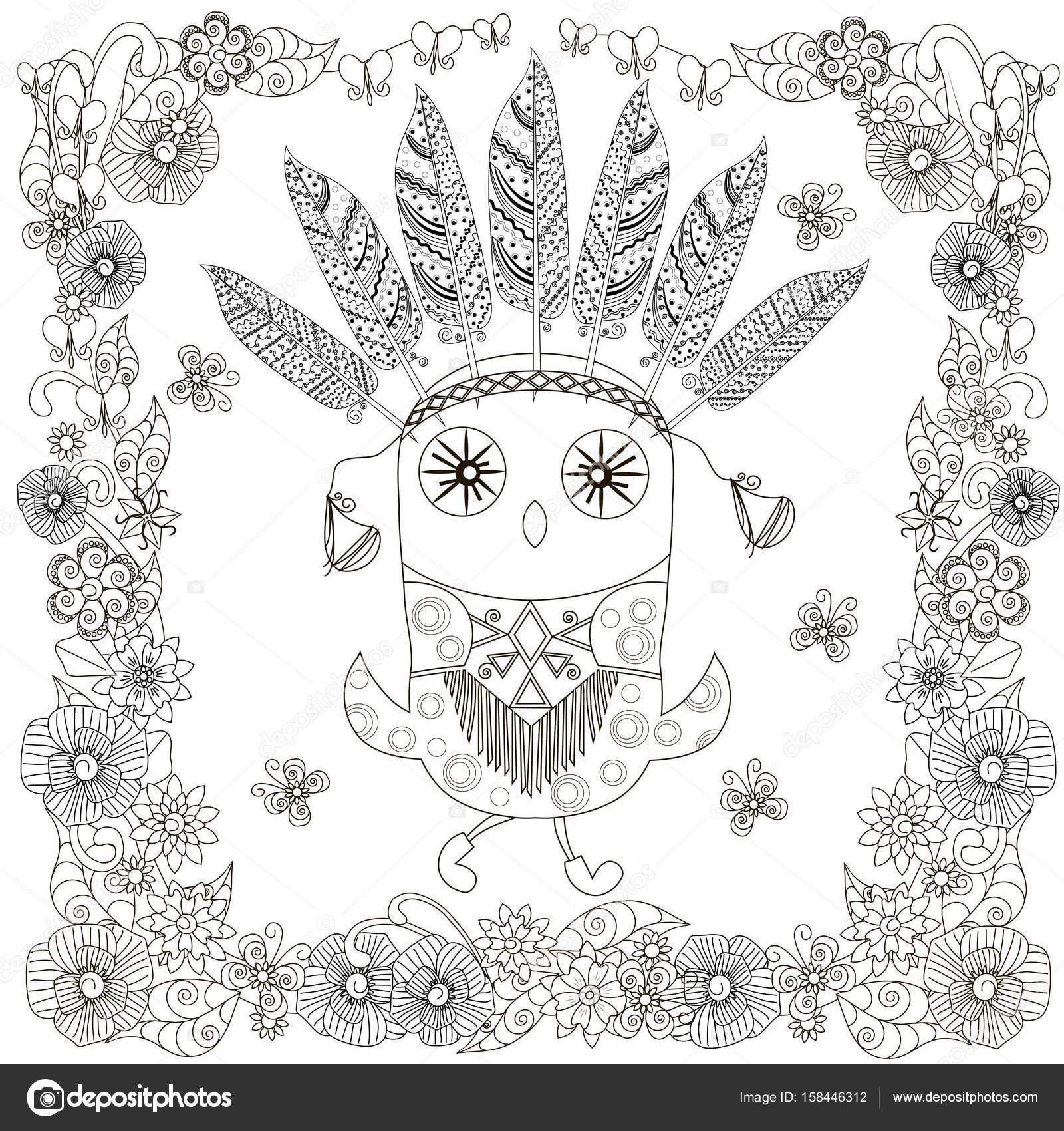 Monochrome Doodle Hand gezeichnete stilisierte Eule in Blumen Rahmen ...