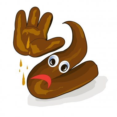 Cartoon brown excrement dung, shit, unhappy emotional with hand stock vector illustration on white