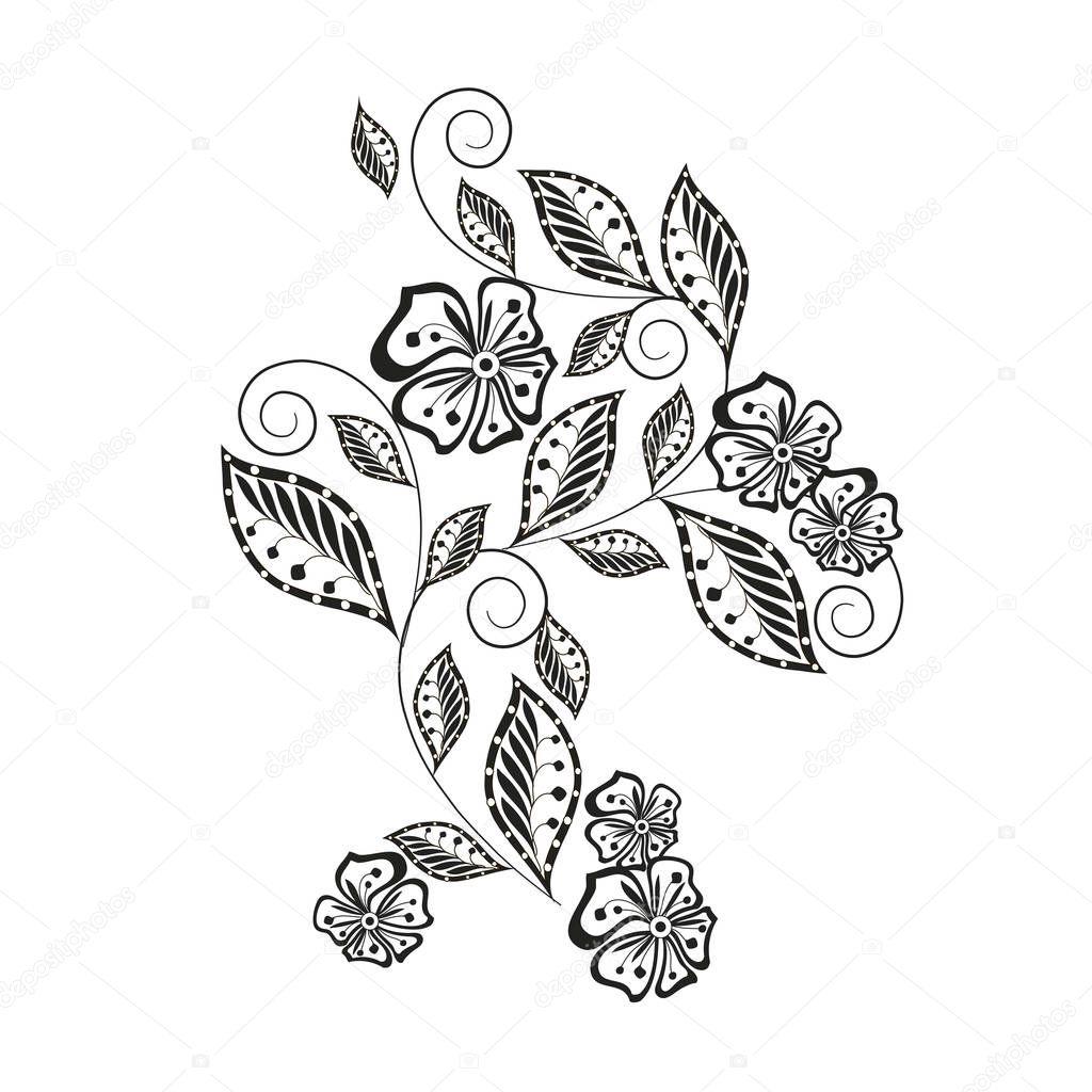 monochroom hand getekende decoratieve bloemen element voor