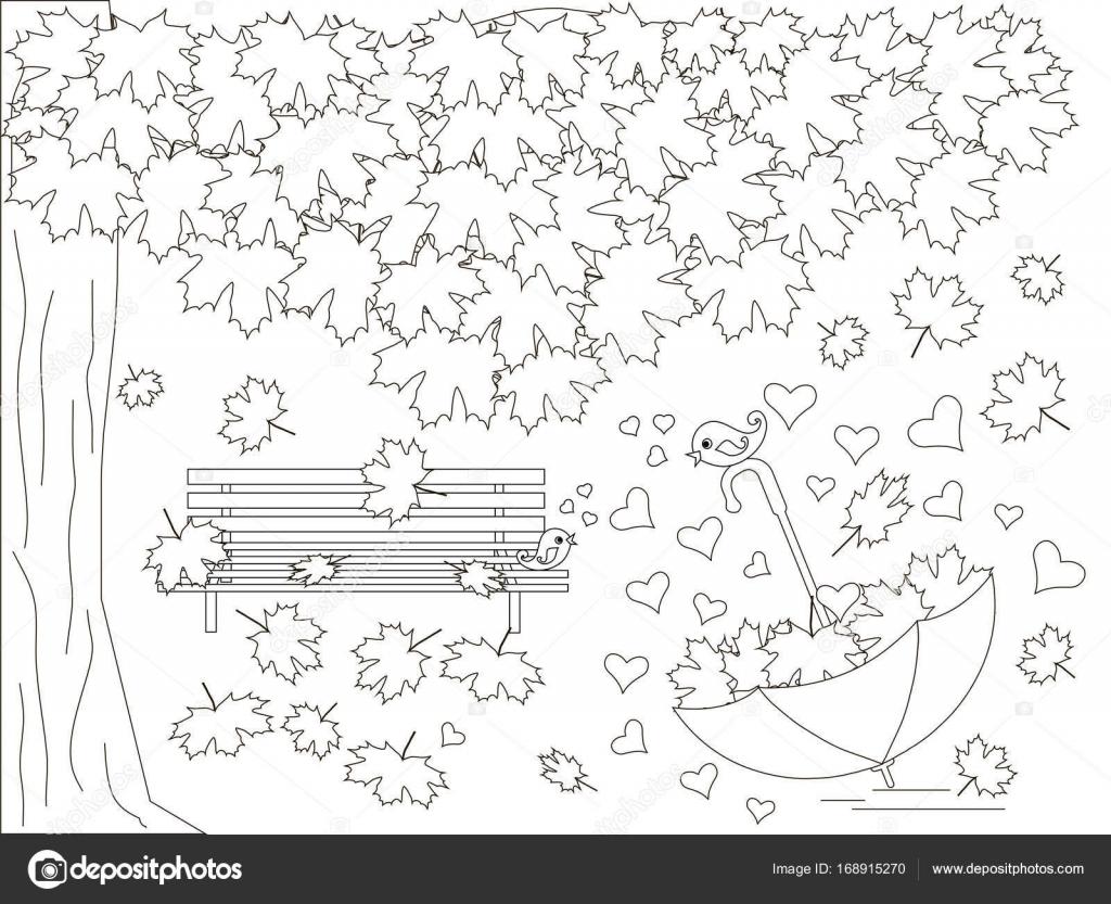 Fondo romántico monocromo con árbol de arce, Banco, cayendo arce ...