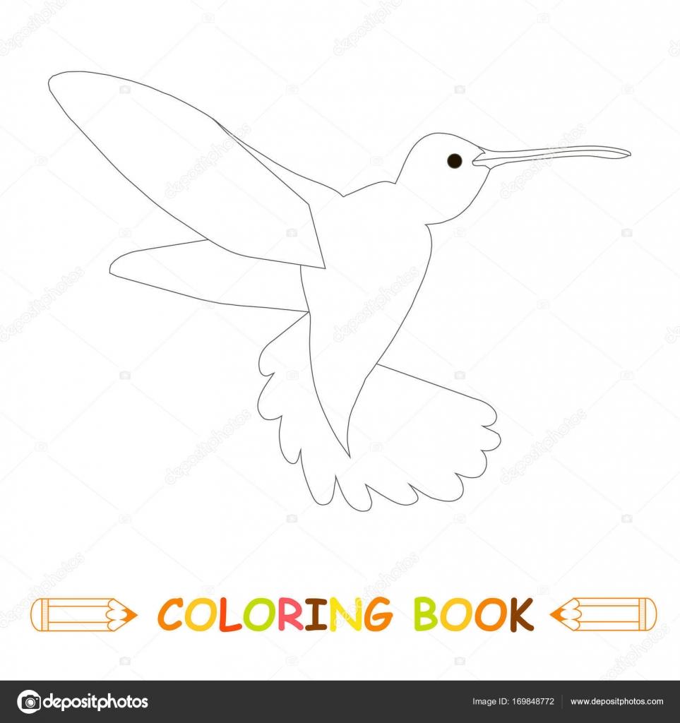 Los niños colorear stock página vector Ilustración, vuelo Colibrí ...