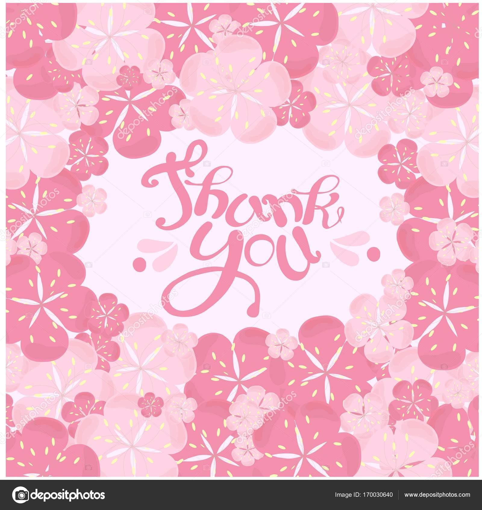 Typografie-Banner-Schriftzug danke in der Malerei rosa Blumen Rahmen ...