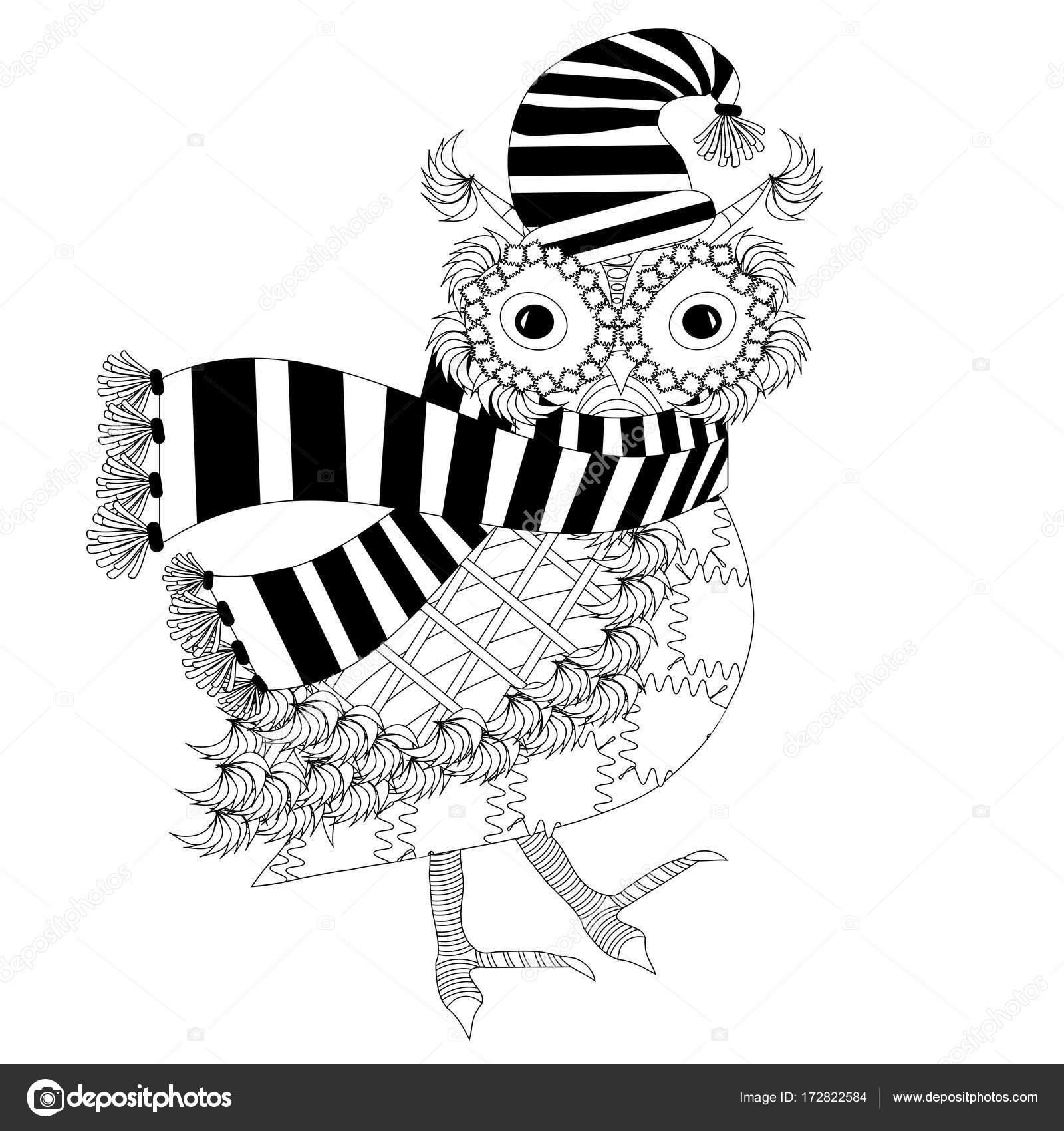 çizgili Atkı şapka Boyama Tek Renkli Karikatür Baykuş Sayfa Anti