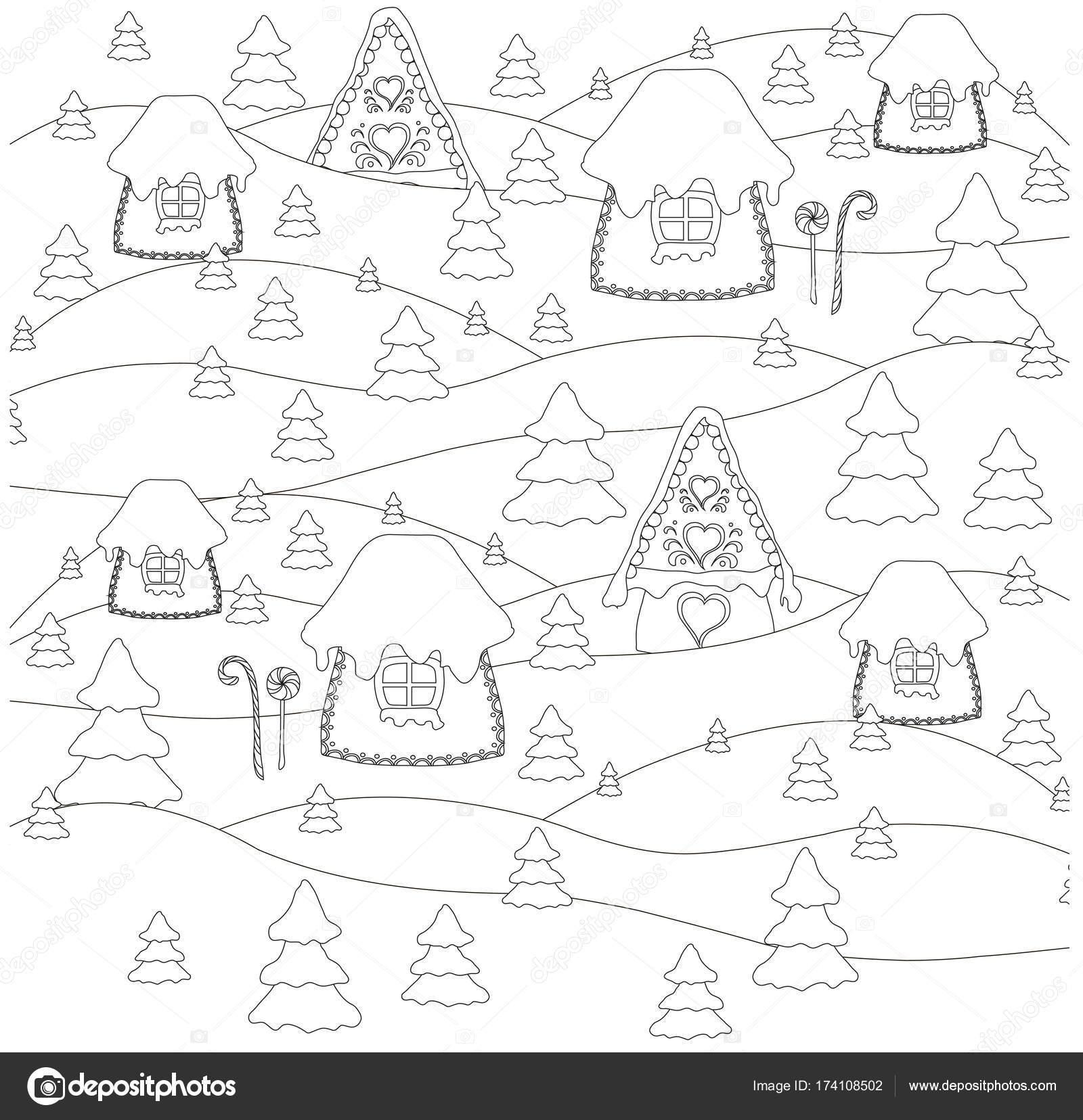 abstrakt, anti-Stress, Kunst, Hintergrund, Weihnachten Häuser ...