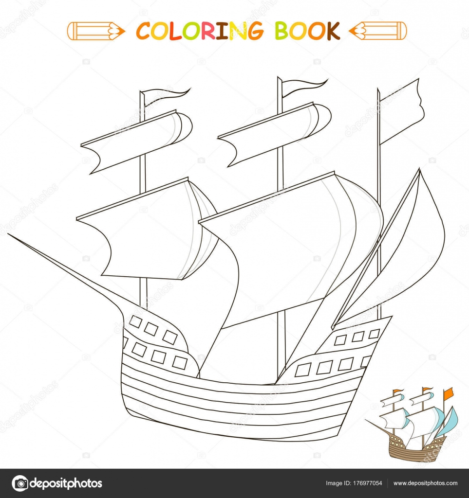 Bateau Coloriage Couleur.Enfants Coloriage Vector Illustration Bateau Version Monochrome
