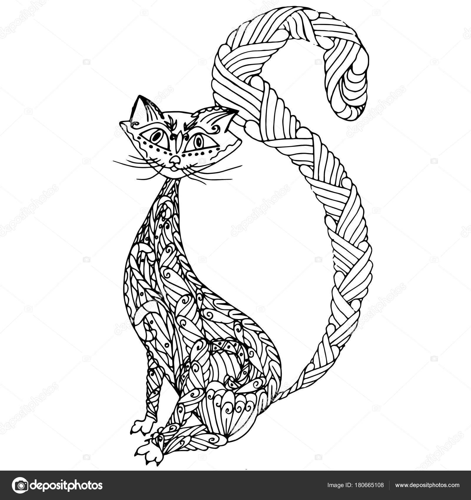 Gato Zentangle Monocromo Dibujado Mano Para Colorear Ilustración ...
