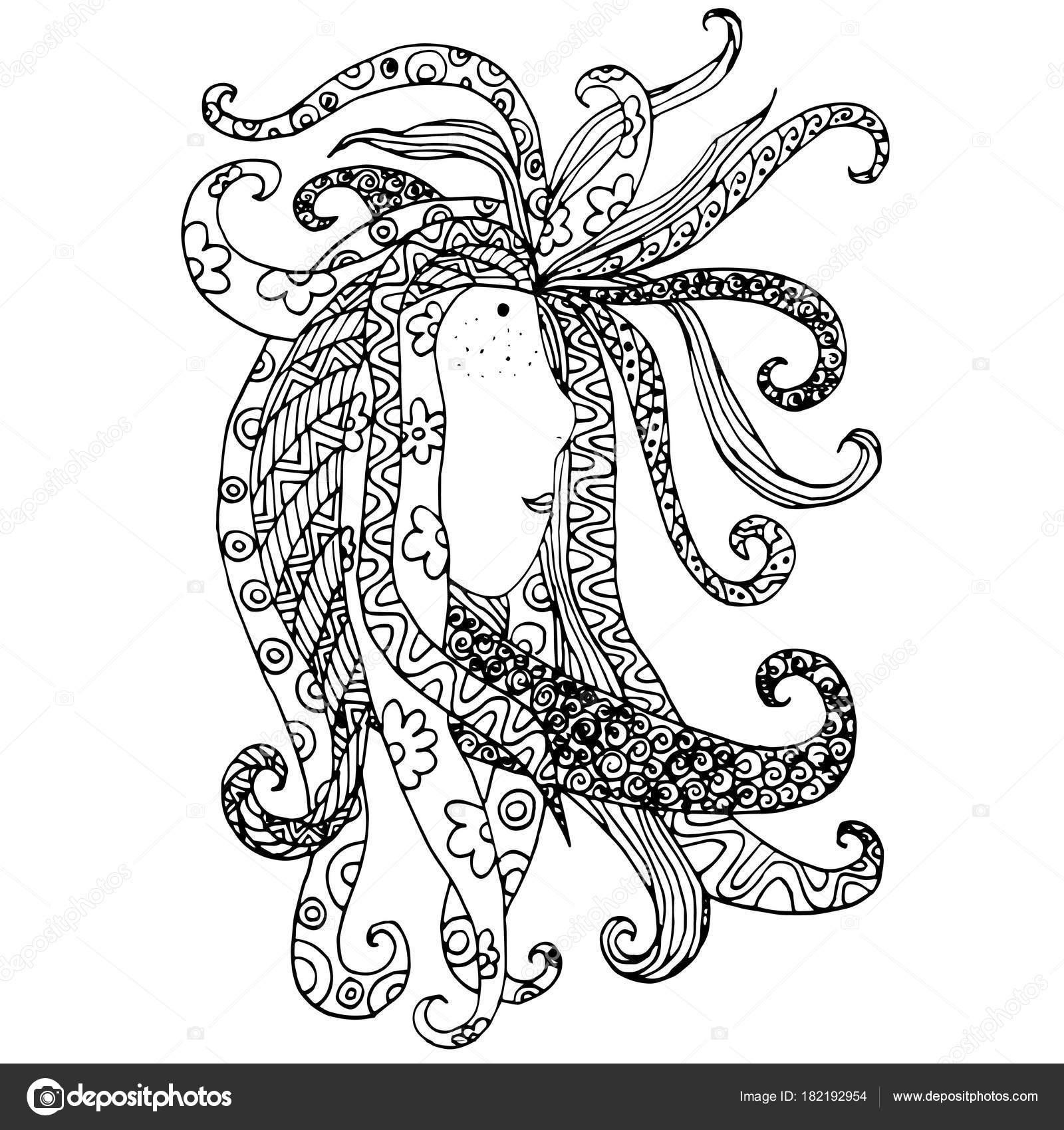 Zentangle Stilisierte Hand Gezeichnete Portrat Madchen Mit Dread