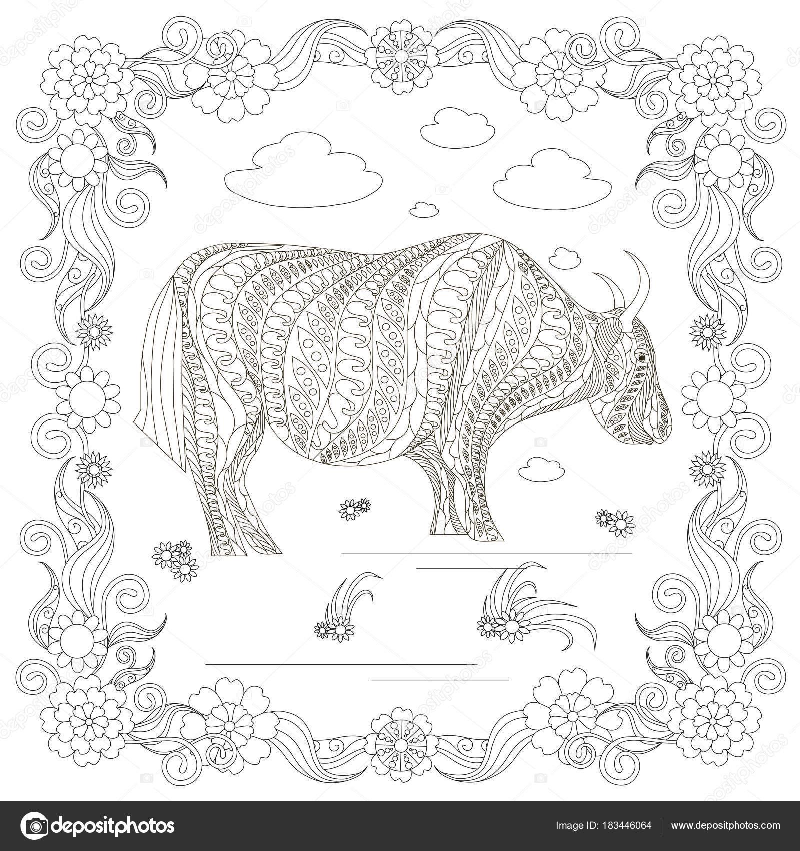 Monochrom Doodle Hand Gezeichnete Yak Wolken Blumen Rahmen Stress ...