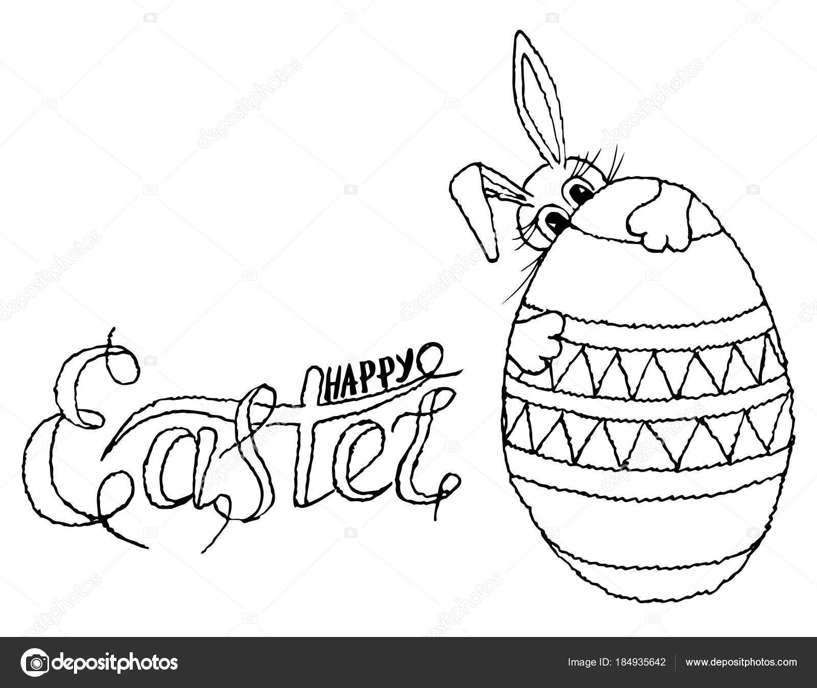 Dibujos Conejo De Pascuas Para Imprimir Letras Feliz Pascua Huevo