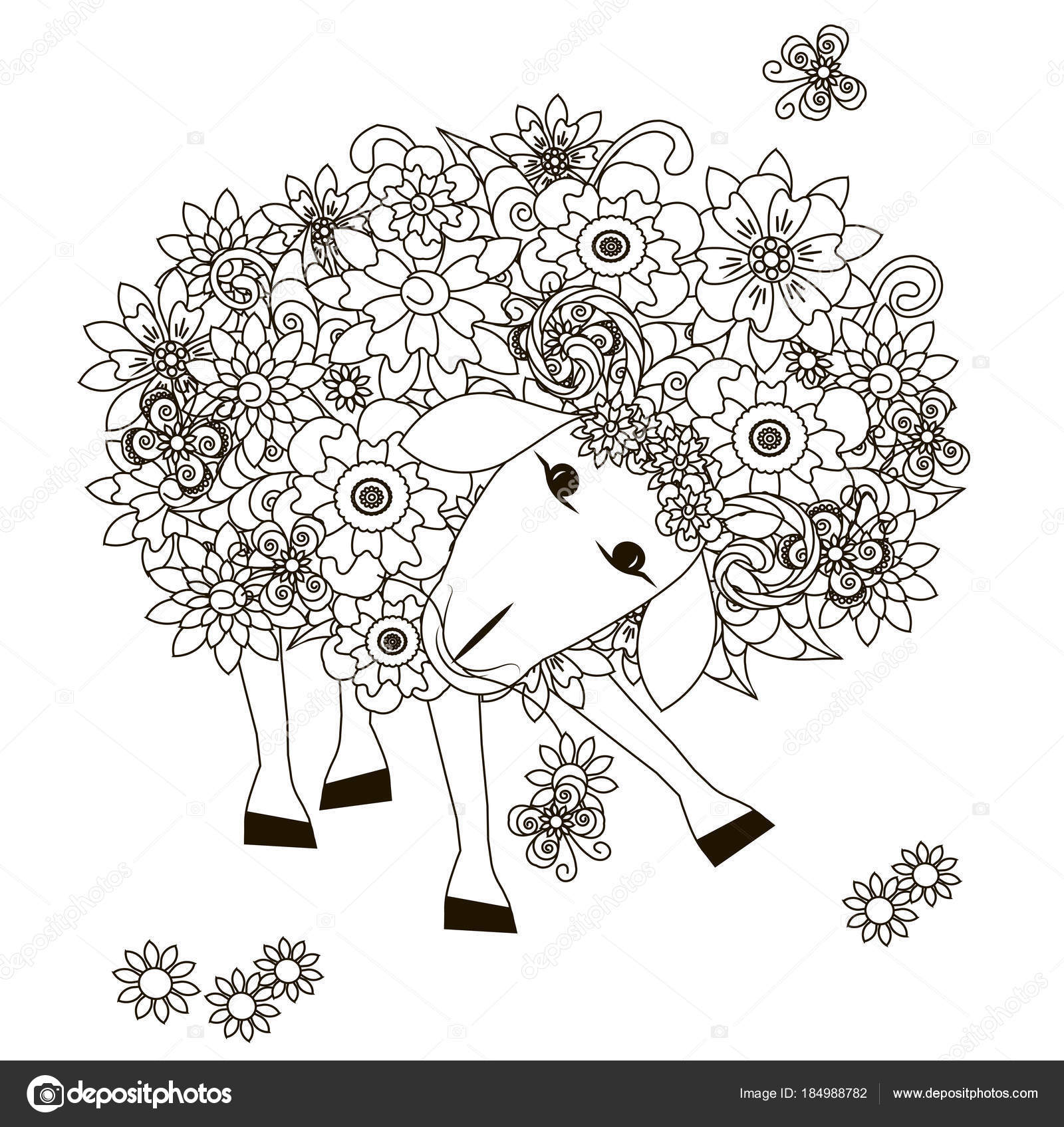 Flowers Sheep Monochrome Sketch Coloring Page Stress Stok Vector ...