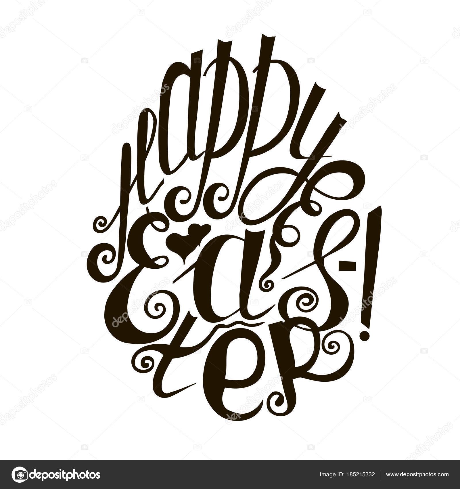 Letras Feliz Pascua Resurrección Mano Dibujada Bosquejo Monocromo ...