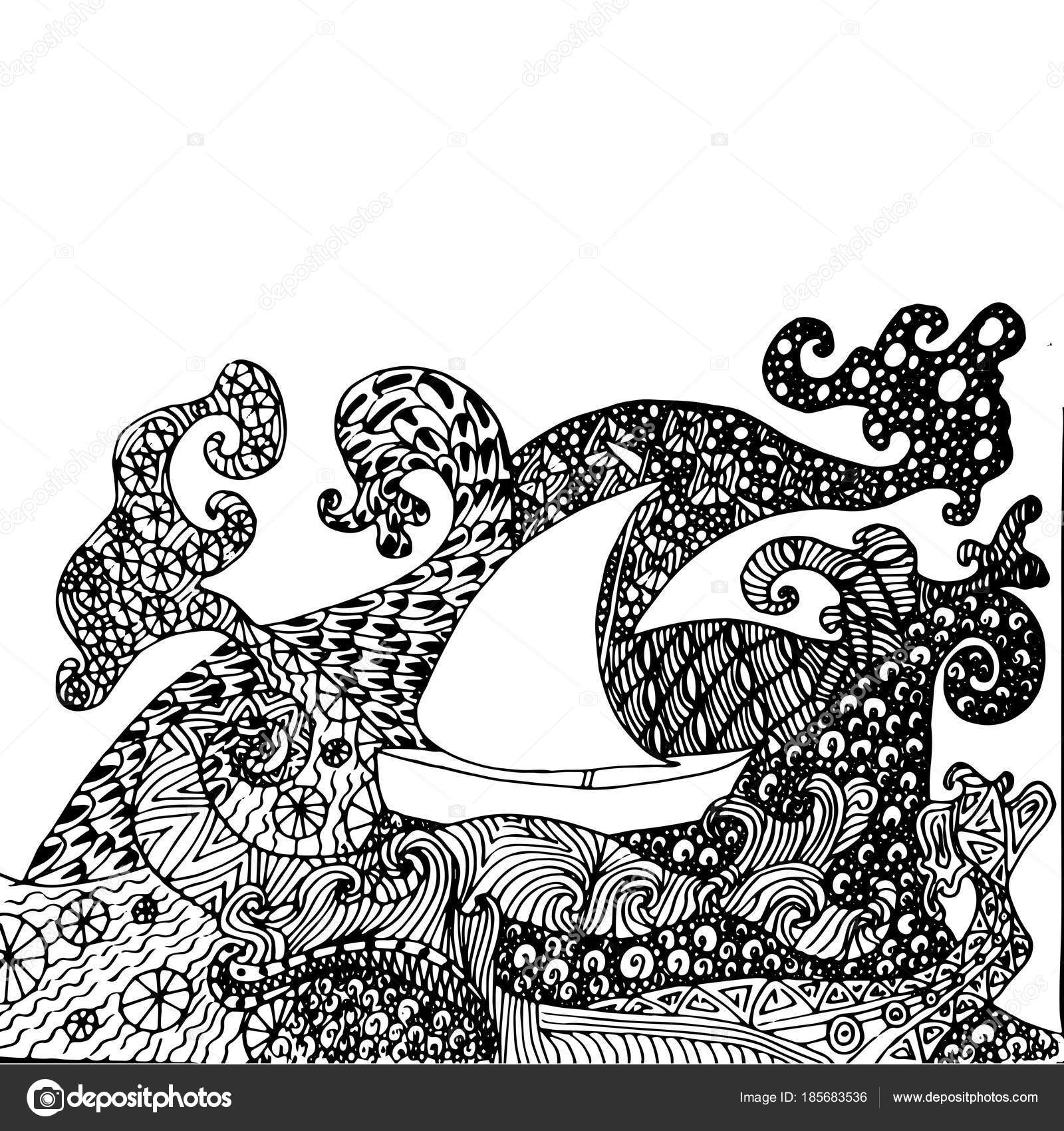 Nave Zentangle Dibujado Mano Antiestrés Olas Para Colorear