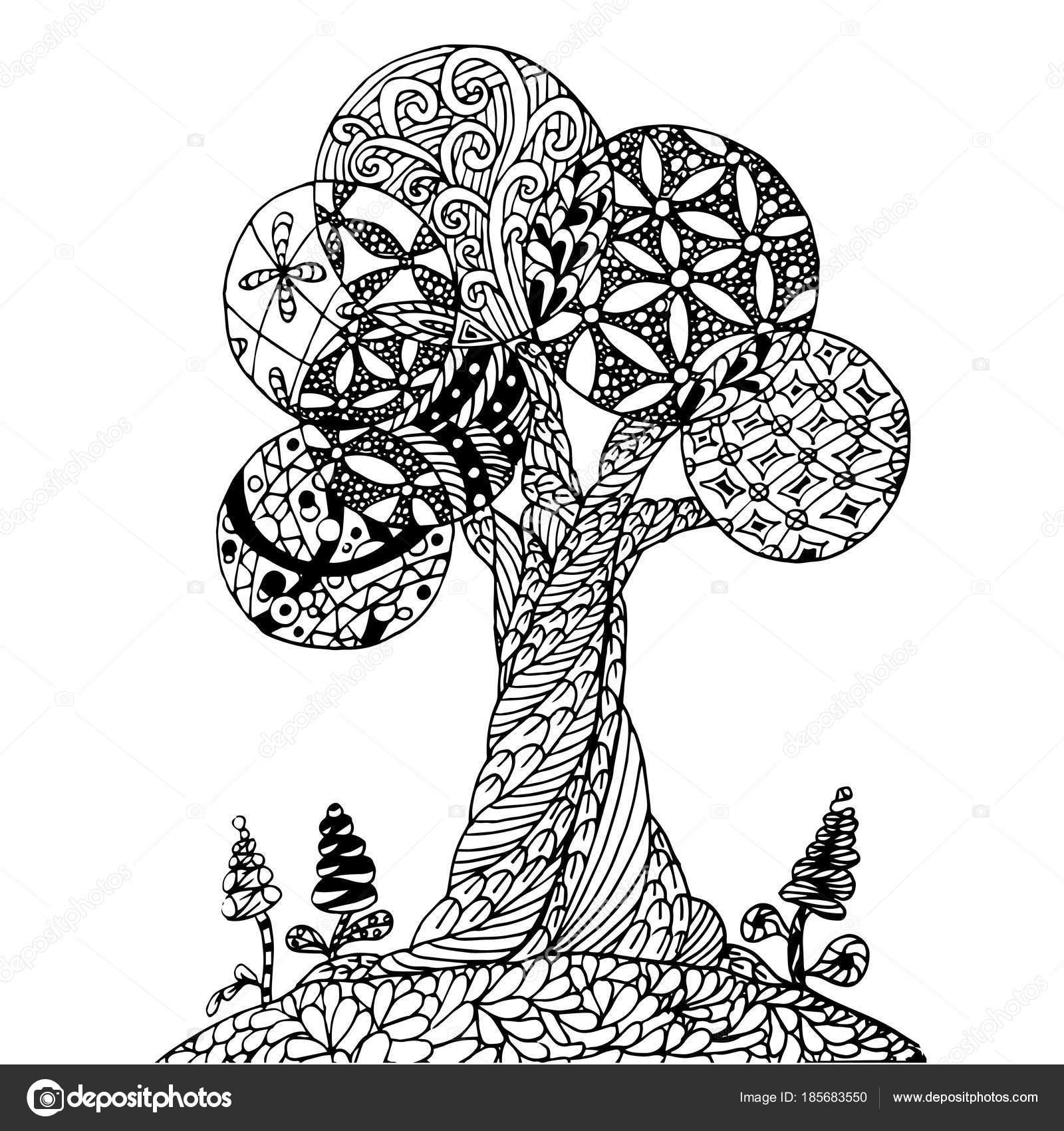 Imágenes Arbol Para Imprimir Fondo Mano Dibujada Zen