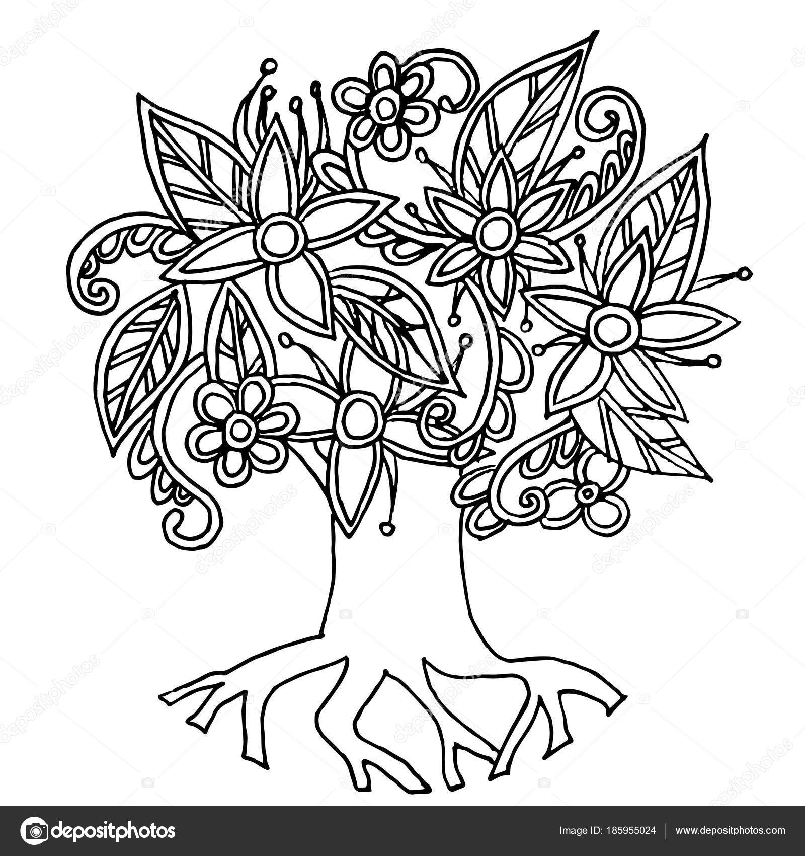 Dibujado Mano Fondo Doodle Monocromo Árbol Estilizado Ilustración ...