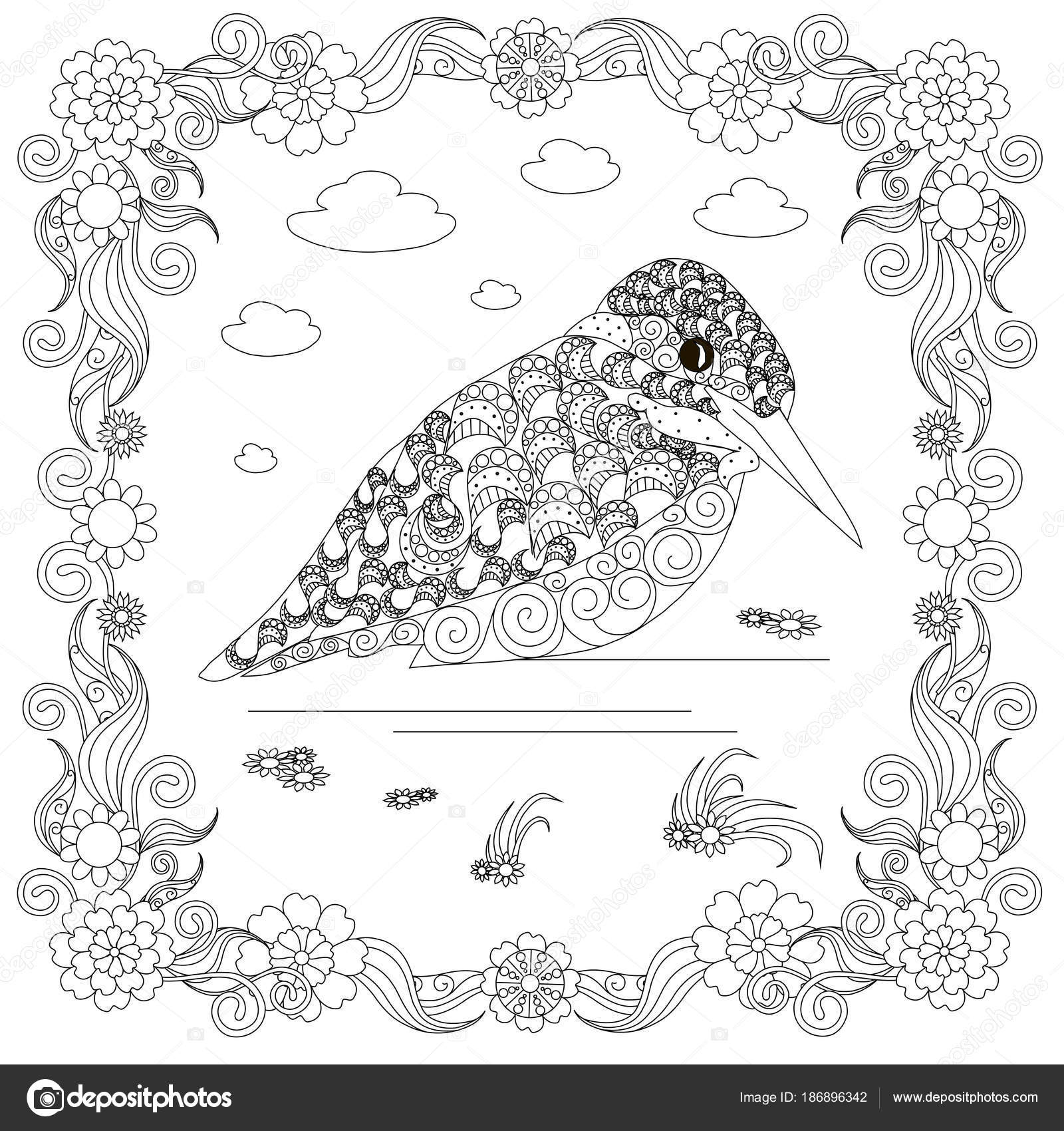 Zentangle Style Kingfisher Flower Frame Monochrome Sketch Coloring Page  Antistress U2014 Stock Vector