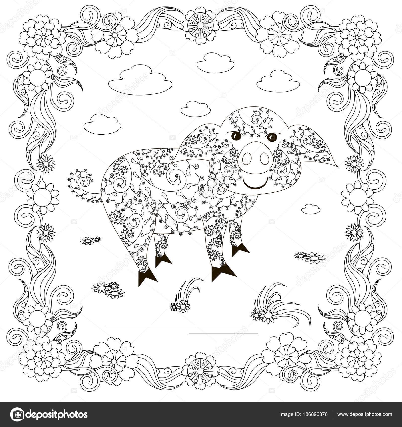 Zen Gewirr Schwein Blume Rahmen Monochrome Skizze Färbung Seite ...