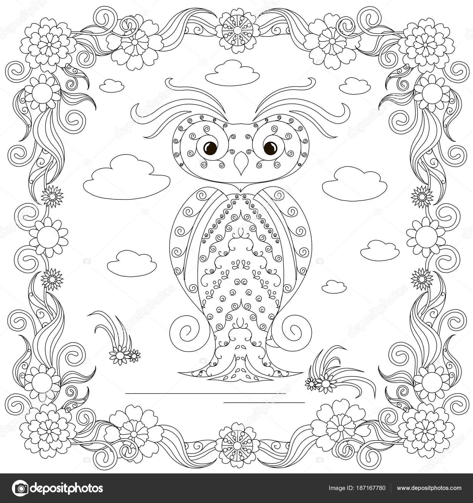 Zentangle Stil Eule Blume Rahmen Monochrome Skizze Färbung Seite ...