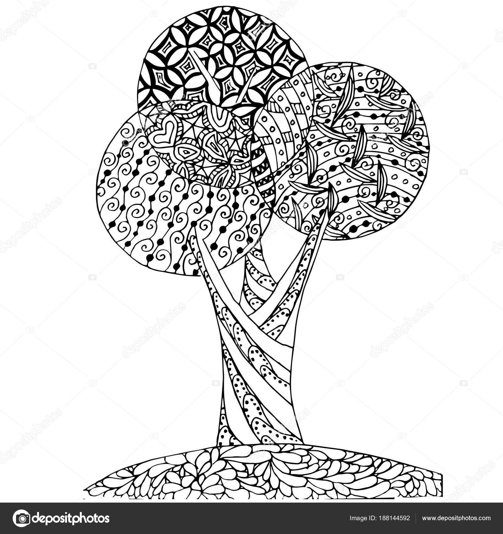 Fondo Mano Dibujada Zen Maraña Monocromo Estilizado árbol