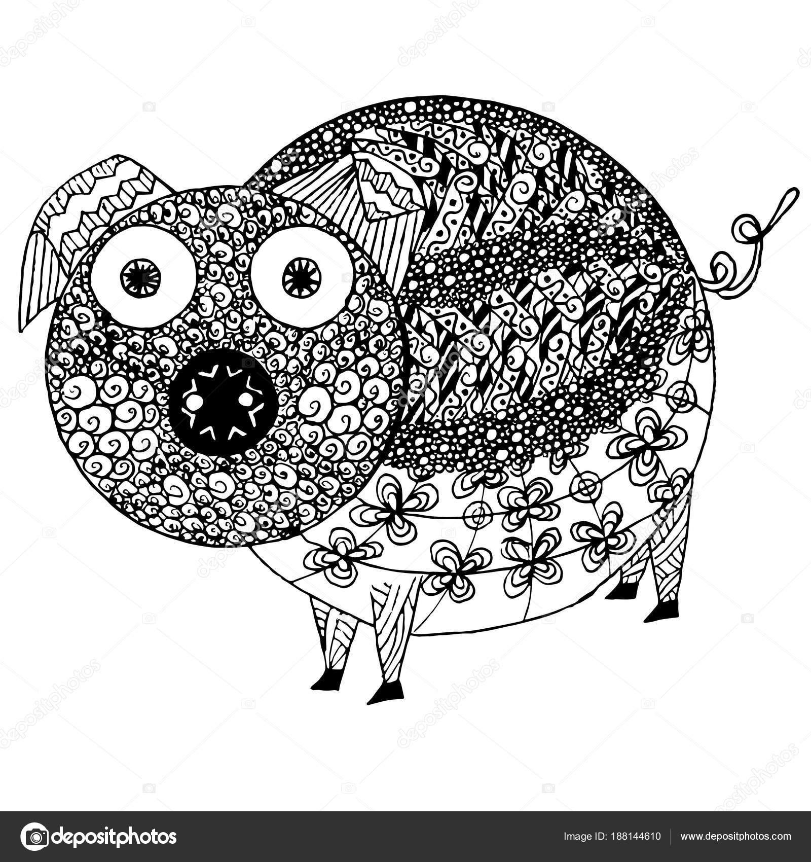 Zen Gewirr Schwein Monochrome Skizze Färbung Seite Antistress Lager ...