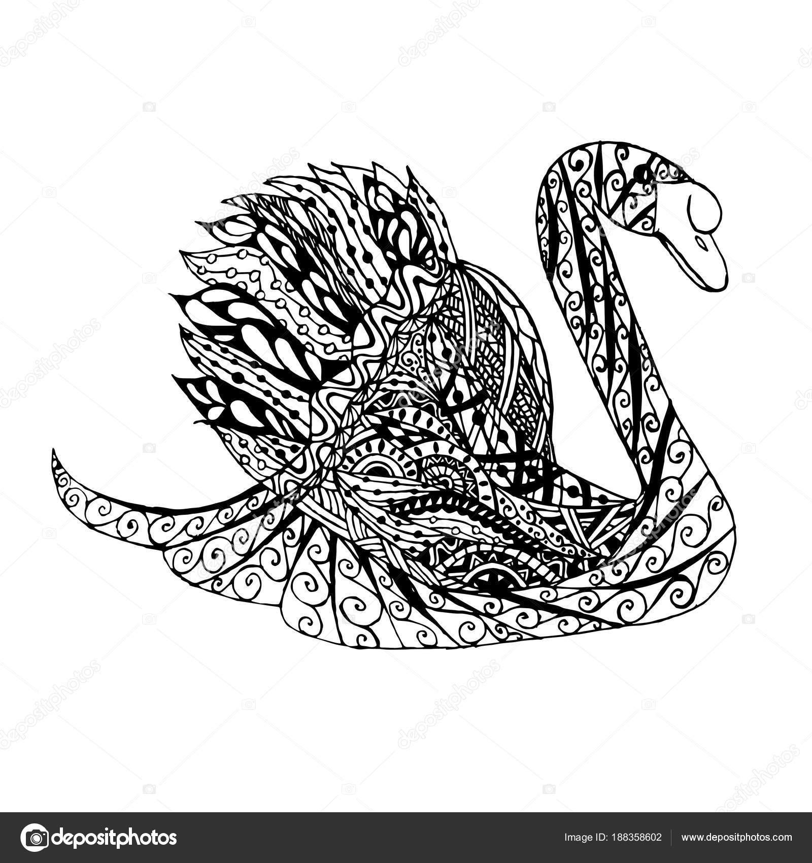 Zentangle Stijl Zwaan Monochroom Schets Kleurplaten Pagina