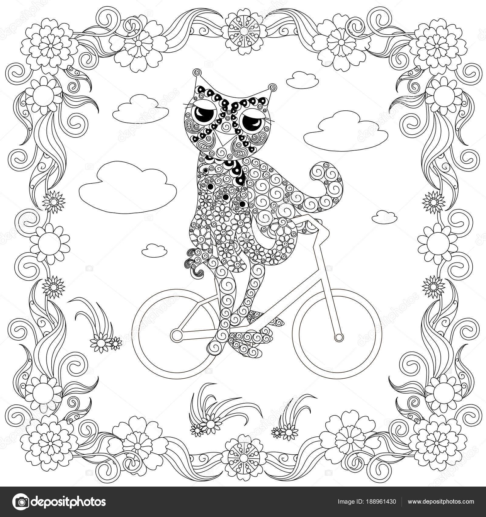 Buho Estilo Zentangle Bicicleta Bosquejo Monocromo Marco Flores ...