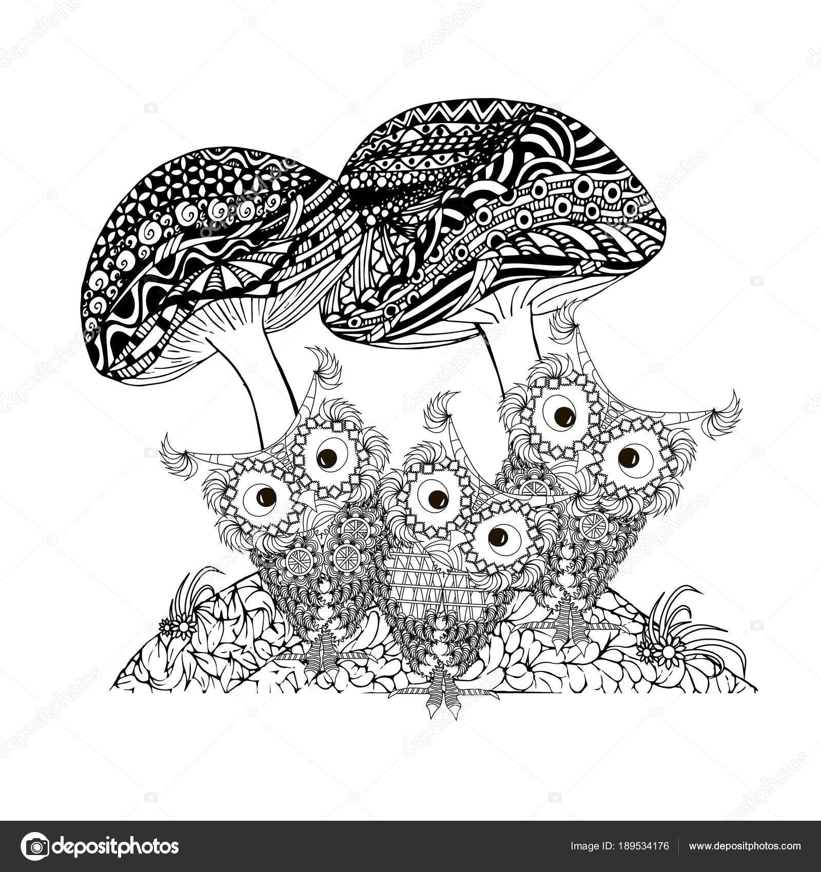 Doodle Setas Buhos Bosquejo Monocromo Marco Flores Ilustración ...