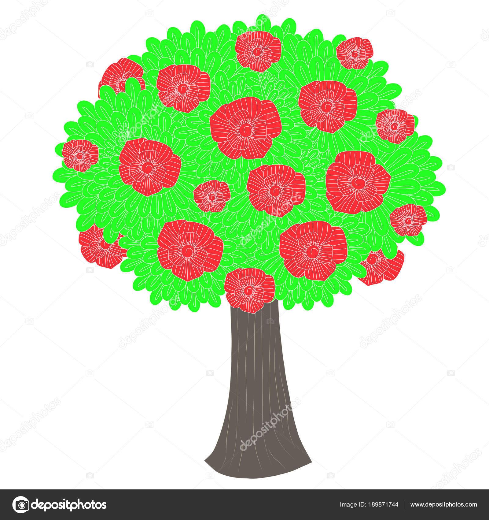 Imágenes Ilustraciones Arbol Dibujos Animados Verde árbol Flores