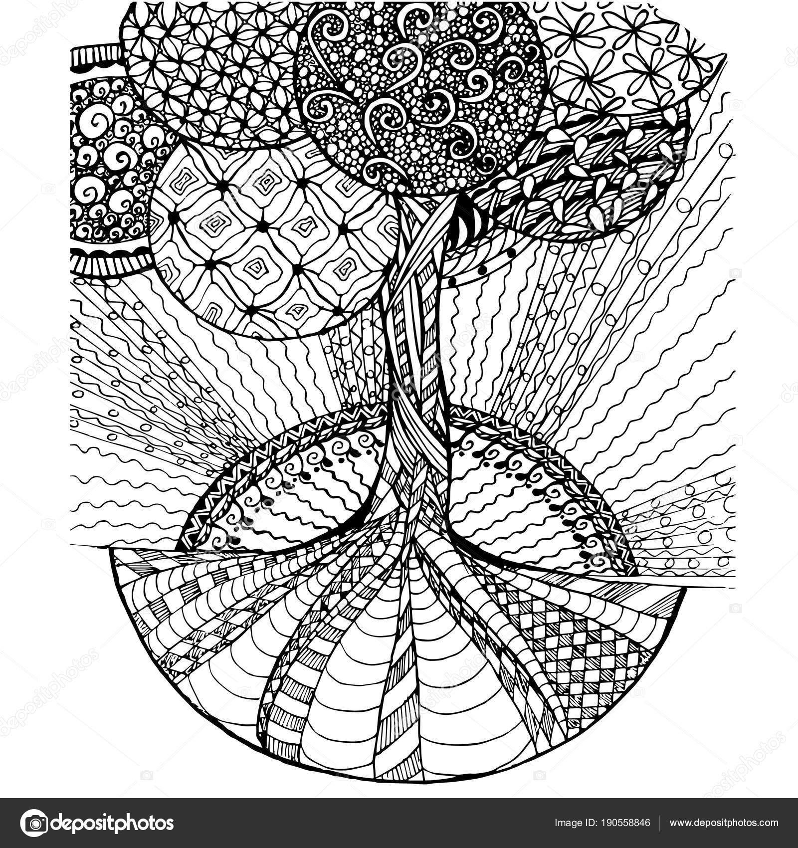 Fondo Mano Dibujada Zen Maraña Monocromo Estilizado Árbol ...