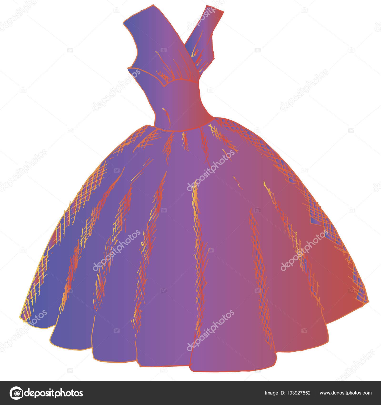 Icono Del Vestido Bola Ilustración Dibujado Mano Tinta Violeta Stock ...