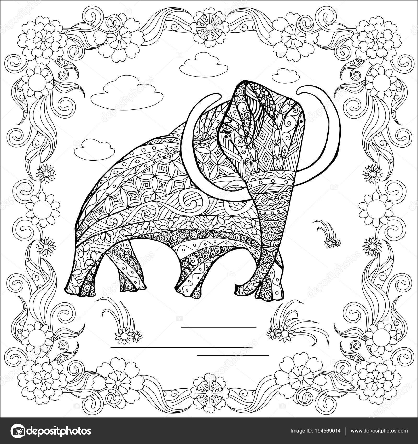 Imágenes Mamut Para Imprimir Mamut Bosquejo Monocromo Estilo