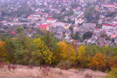 old town in aerial view from the Bona mountain. Kremenets, Ternopil region, Ukraine