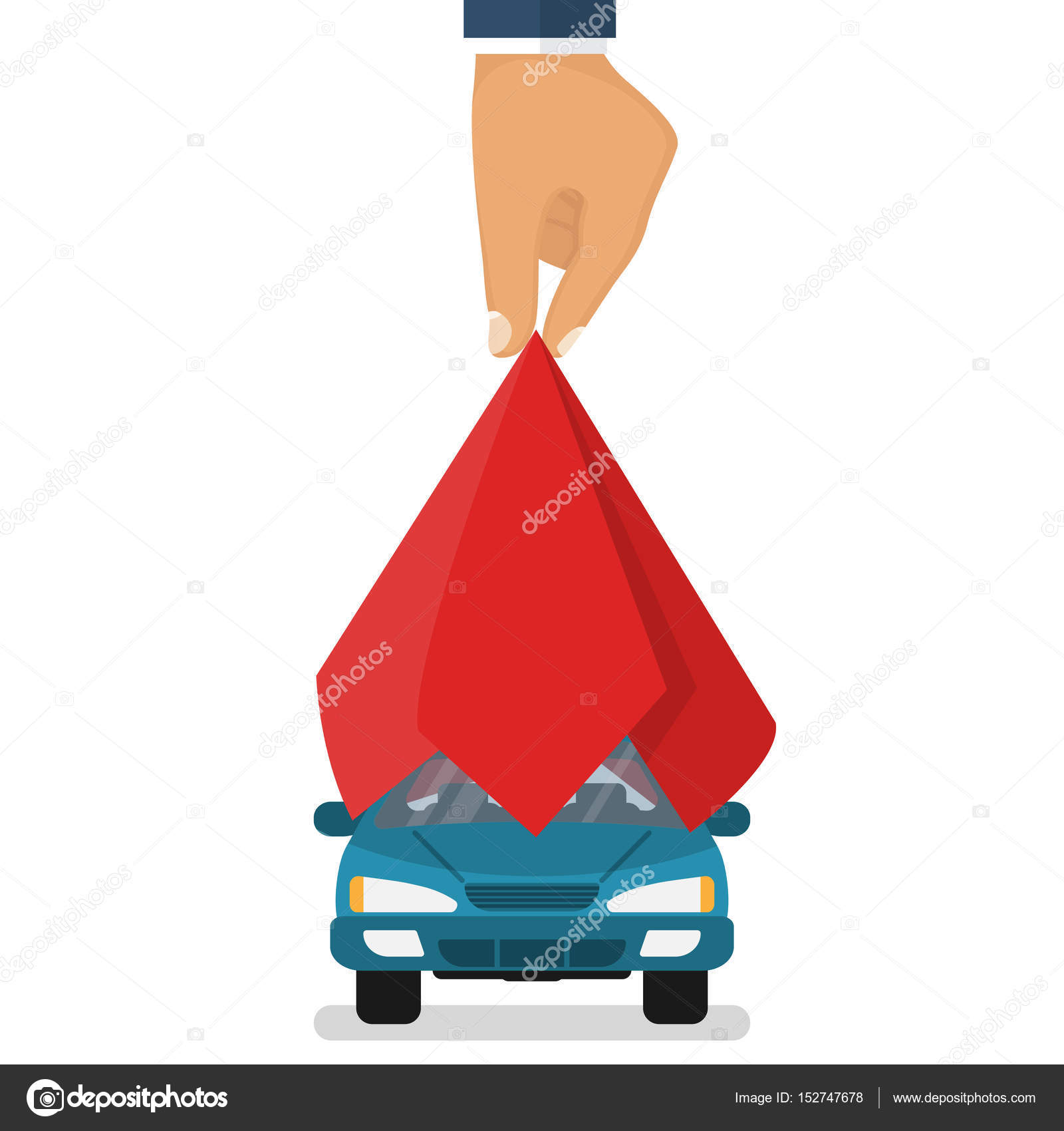 Präsentation-Auto. Auto abgedeckt roten Seide — Stockvektor ...