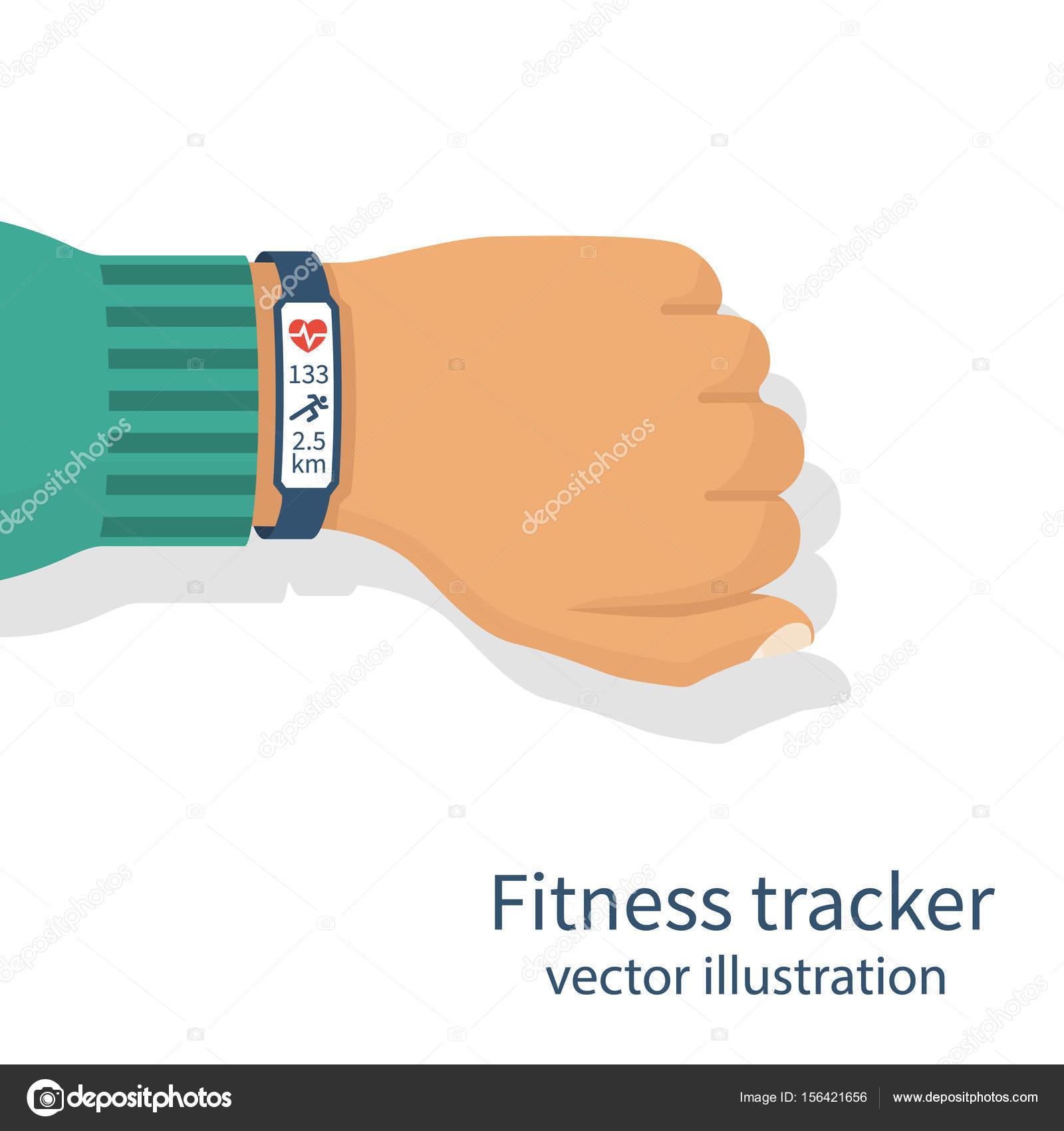 fitness tracker on mans hand stock vector threecvet gmail com