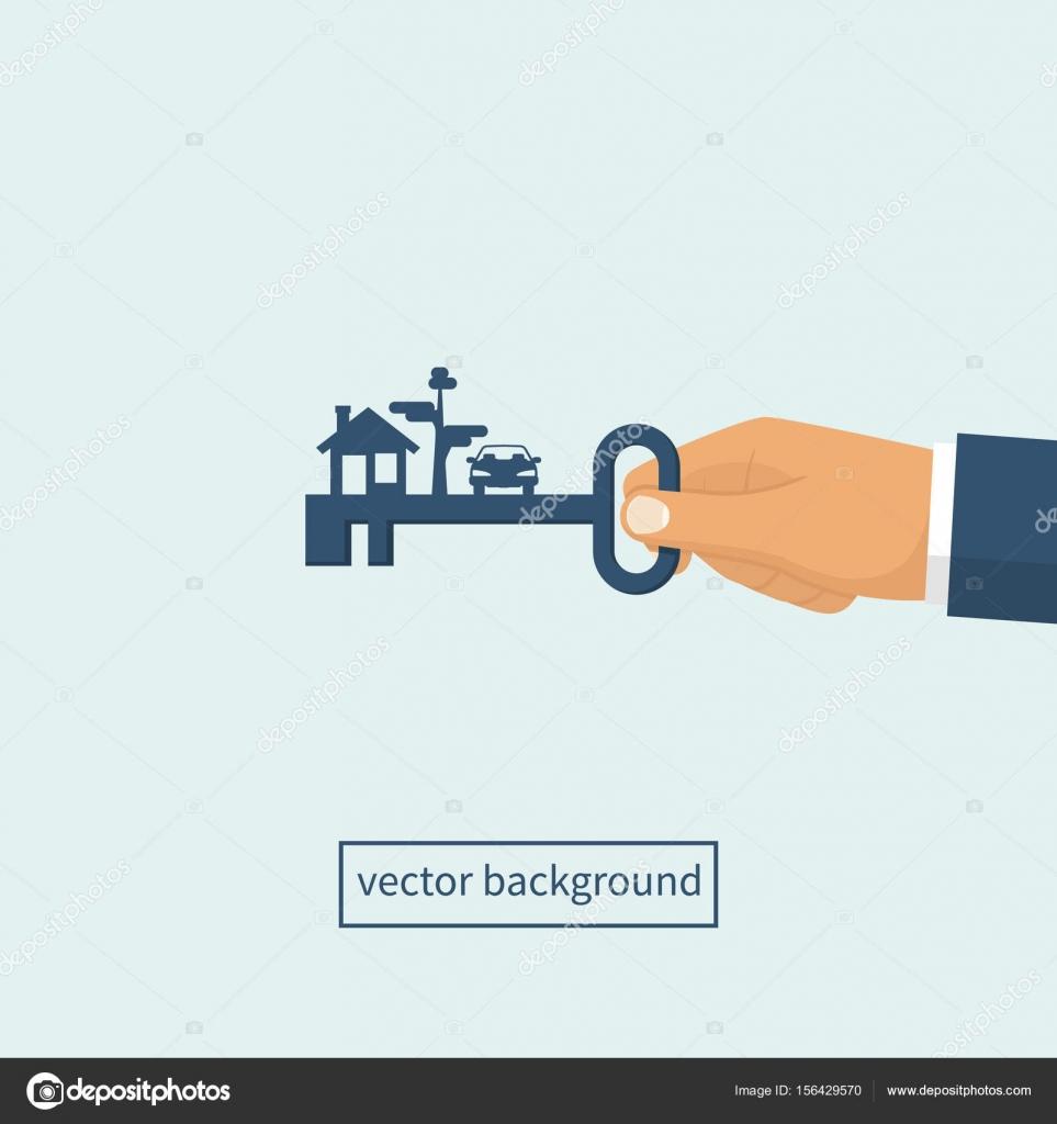 Schlüssel in der hand nach Hause Mann — Stockvektor © threecvet ...