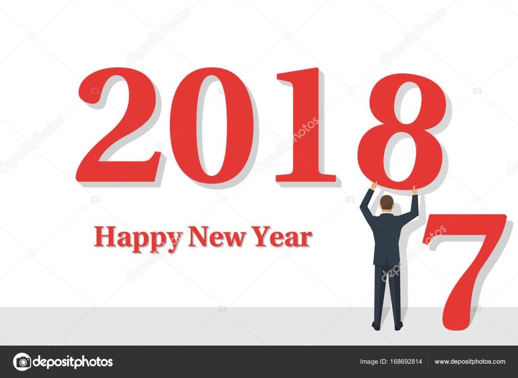Glückliches neues Jahr 2018 — Stockvektor © threecvet.gmail.com ...