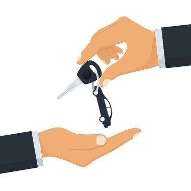 Key car in hand. Give, take car key.