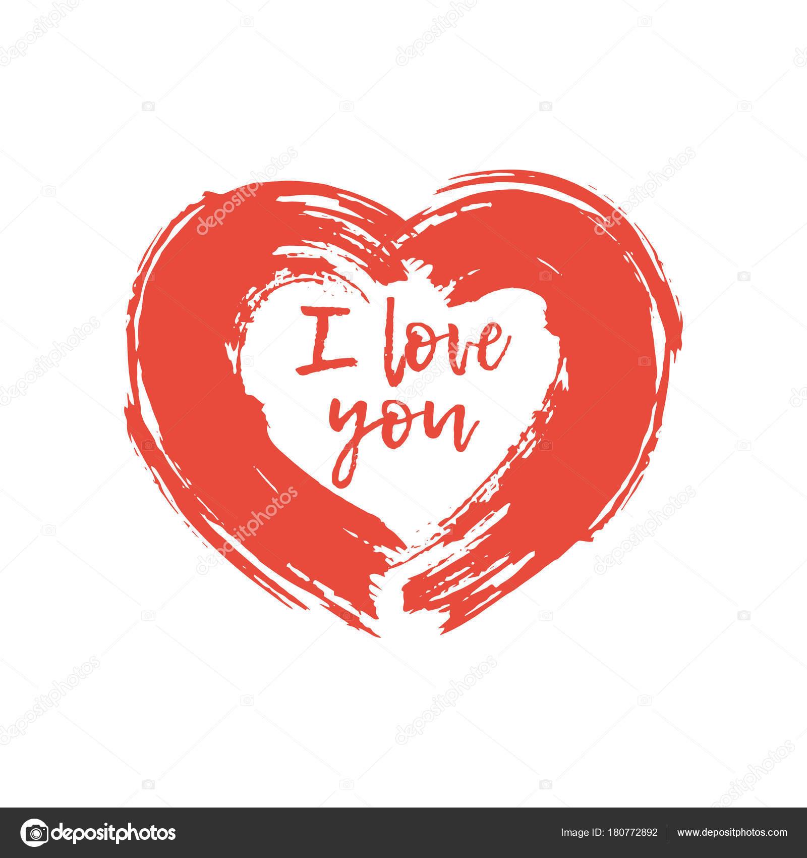 Desenho De Coração Vermelho Pintado Pinceladas Com Um Texto Que Eu