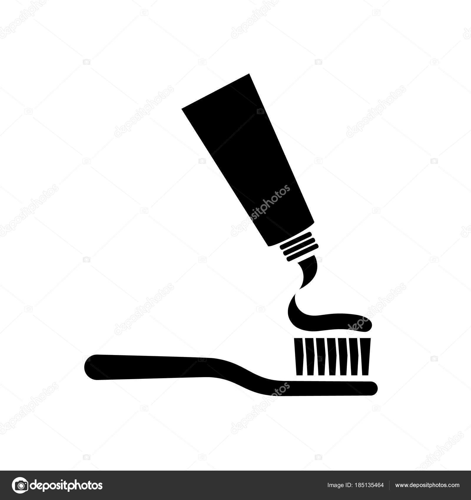 Flambant neuf Brosse à dents avec la silhouette du dentifrice — Image  OF62