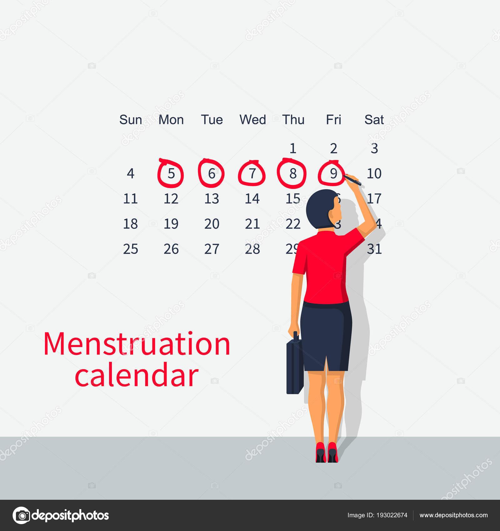 Calendario Del Ciclo Mestruale.Note Di Donna Nel Ciclo Mestruale Calendario Vettoriali