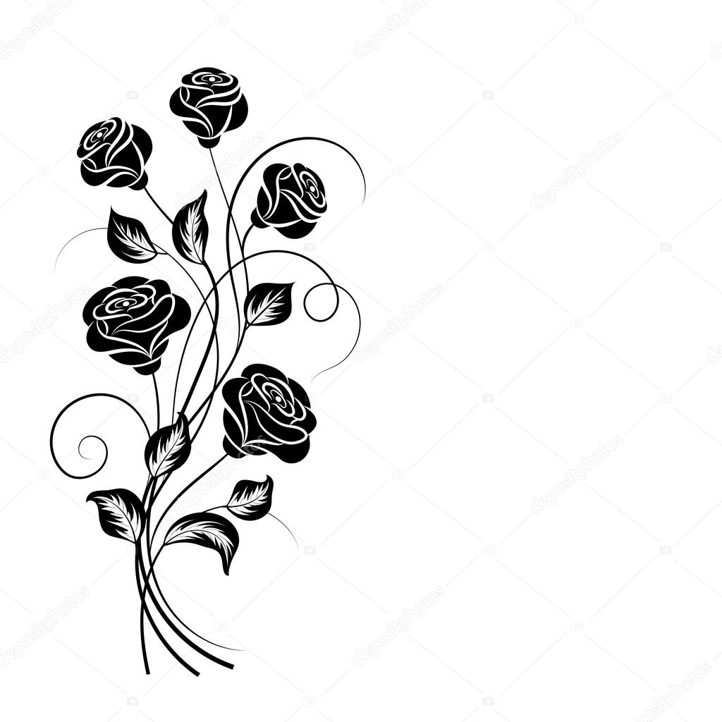 Simple Floral Background In Black And White Stock Vector