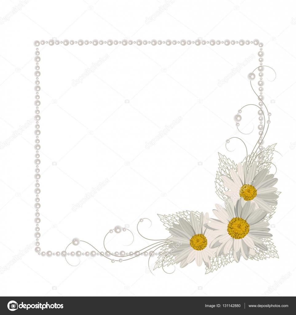Marco de flores con perlas — Vector de stock © debopre.v.gmail.com ...