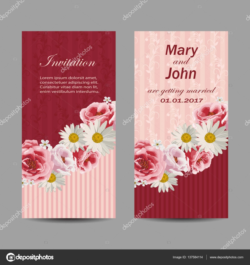Set of wedding invitation cards design. — Stock Vector © debopre.v ...