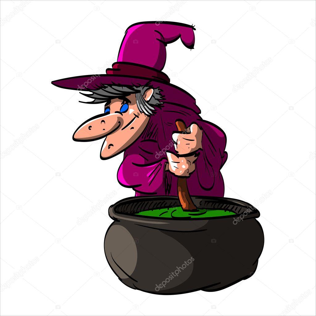Befana o una strega con un calderone u2014 vettoriali stock © philllbg