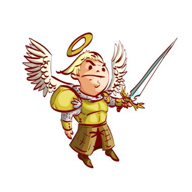 Cartoon Archangel with sword and armor