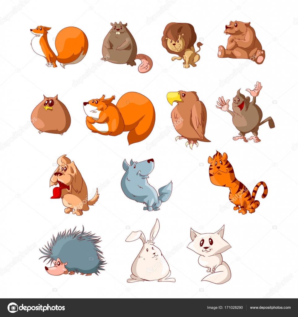Dessin D Animaux Mignon ensemble d'animaux mignon dessin animé — image vectorielle philllbg
