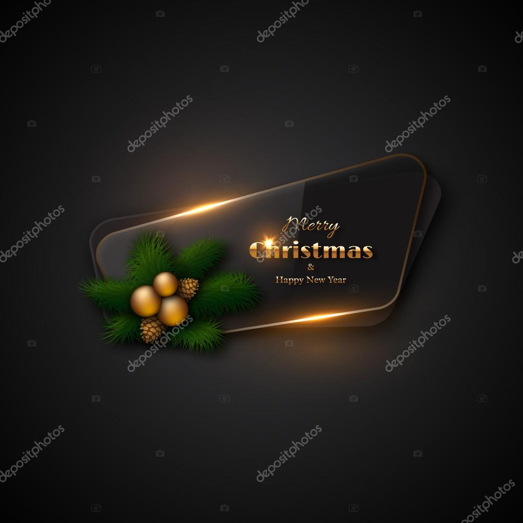 Christmas Banner With Transparent Glass And Glowing Lights Black Background Decorative Pine Branches Gold Balls Cones Merry Happy