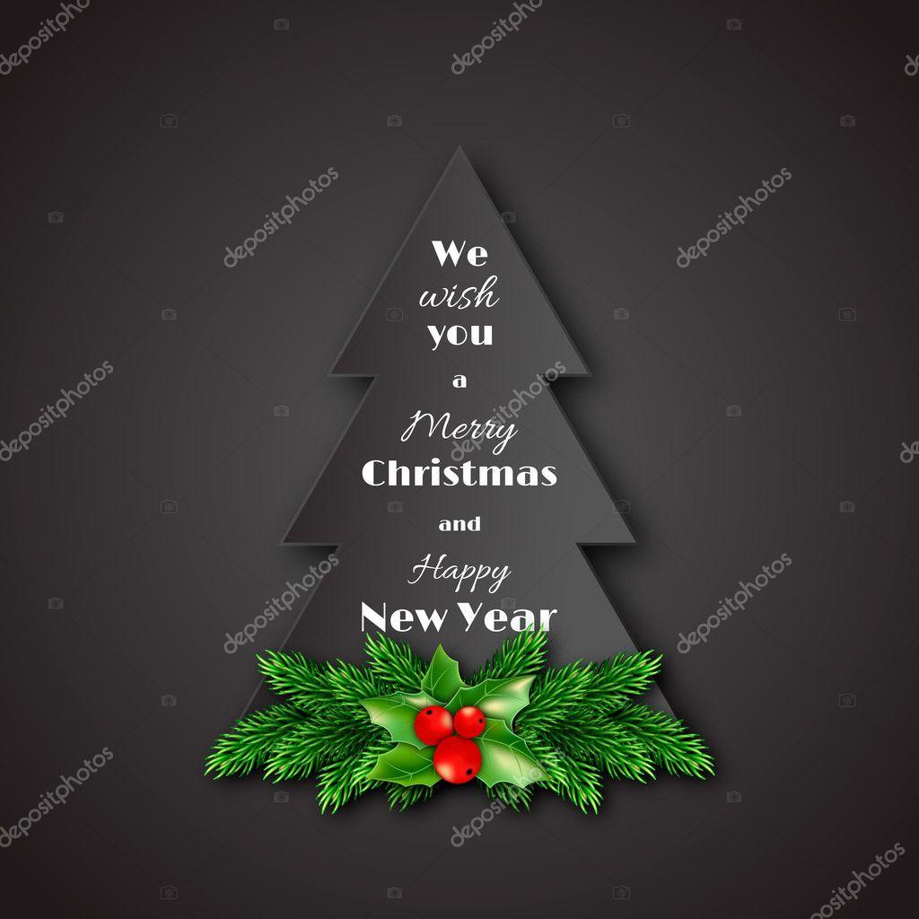 Weihnachten Bilder Mit Text.Tannenbaum Mit Dekorativen Fir Weihnachten Papier Zweige Und Holly